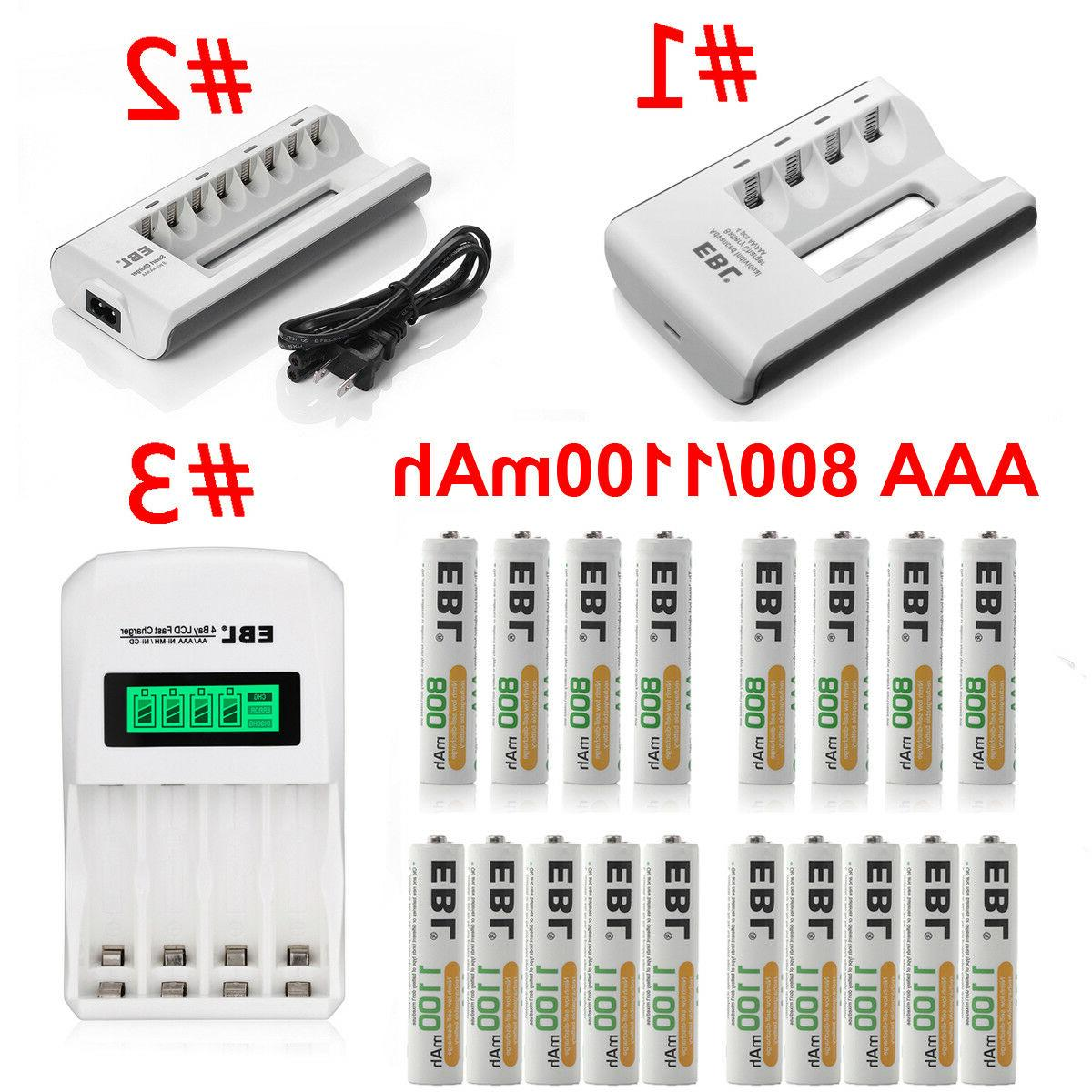 lot 800 1100mah aaa rechargeable batteries charger