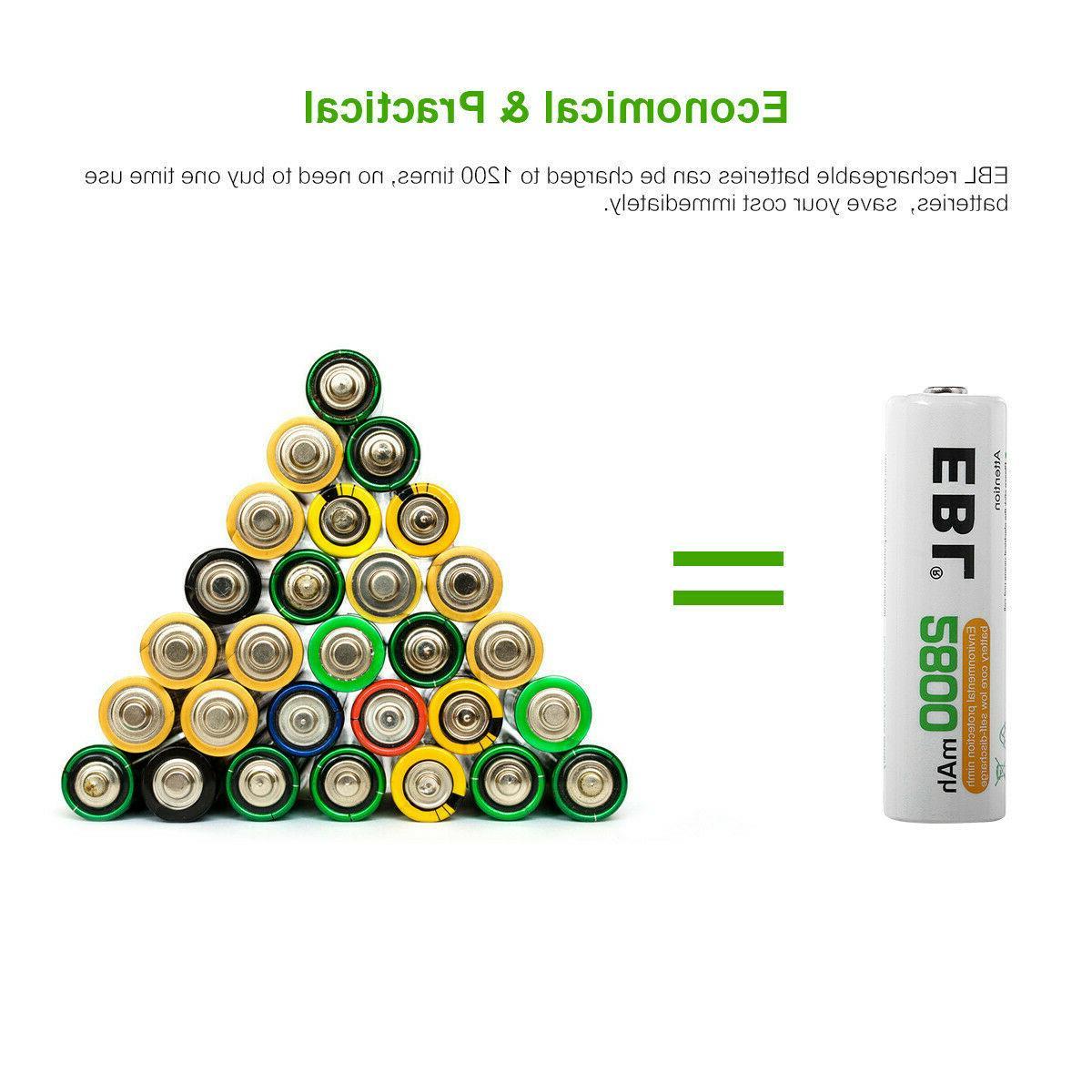 Lot EBL C D Size Battery 9V Volt Rechargeable Batteries