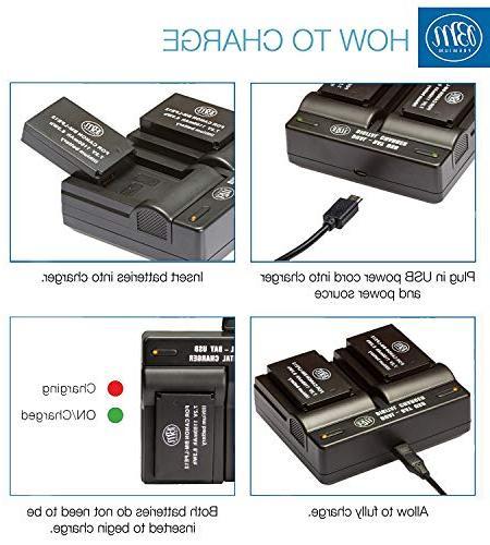 BM 2-Pack of LP-E12 Batteries Dual Canon HS, SL1, EOS-M, EOS M2, EOS EOS M50, EOS Digital Cameras