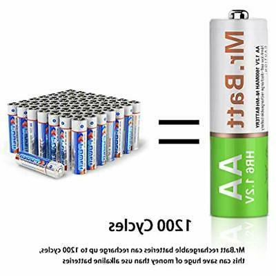 Mr.Batt NiMH AA Rechargeable Batteries Pre-Charged Audio