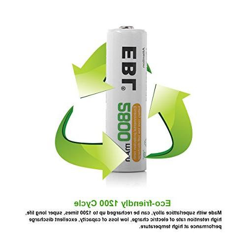 EBL Pack Batteries 2800mAh AA Battery Case Included