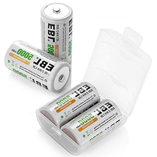 4-Pack High Rechargeable C Batteries