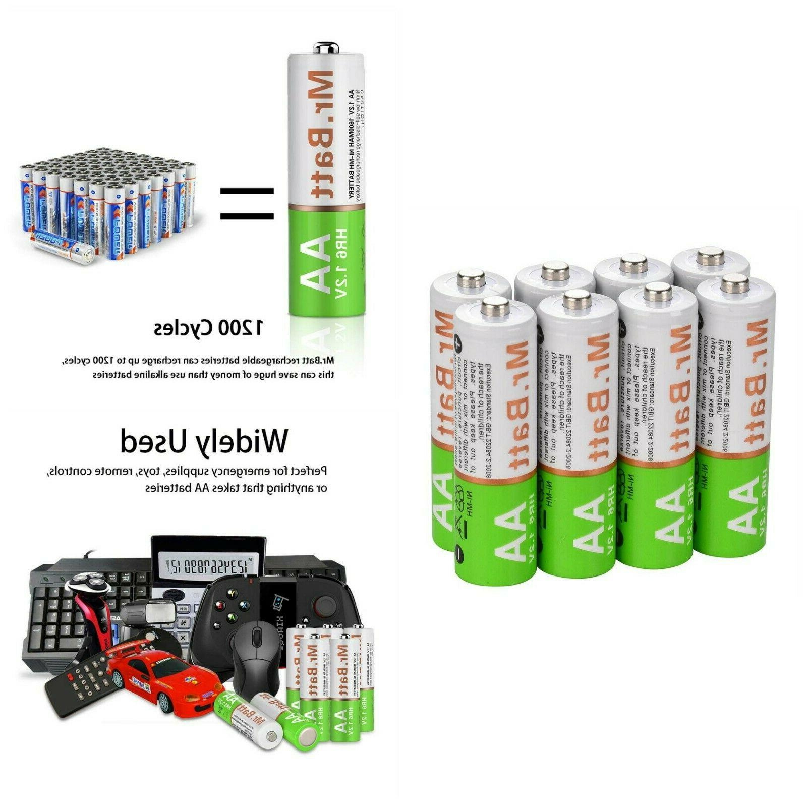NiMH AA Rechargeable Batteries 1600mA Household Flashlight D