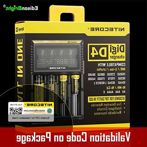 Nitecore D4 smart Charger 2015 version LCD Display with 12V Cable AA to Battery Converter Spacers