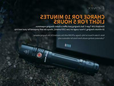 Fenix EDC LED USB rechargeable tactical flashlight w/ battery