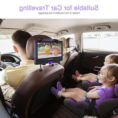 """COOAU Portable DVD Player with Rechargeable Battery, 9.5"""" Swivel Screen, Support USB Port and SD Card, Region"""