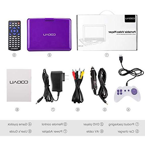 """COOAU 11.5"""" Portable Player with 5 Rechargeable Battery, 9.5"""" Support Card, Purple"""