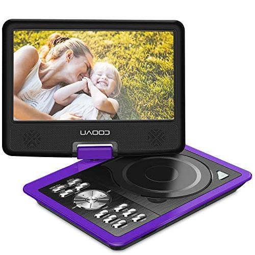 """COOAU 11.5"""" Player Rechargeable 9.5"""" Swivel Screen, Support USB Card,"""