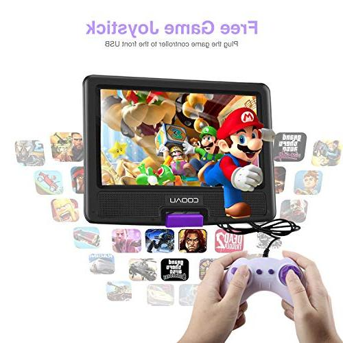 """COOAU 11.5"""" Portable DVD Player with 5 Rechargeable Battery, Game Joystick, 9.5"""" Swivel Support USB Port and SD Card,"""