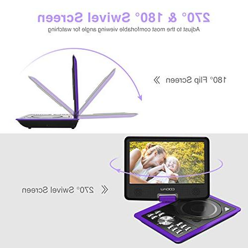 """COOAU 11.5"""" Portable Player 5 Rechargeable Game 9.5"""" Swivel Screen, USB Port SD Card, Region Free,"""