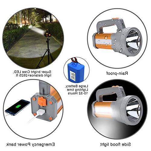 High Rechargeable Searchlight Large Long Lasting,Side Floodlight Light Camping Lantern USB Charge