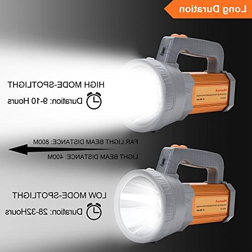 High Powered Rechargeable Flashlight High Handheld CREE Searchlight Large Battery 10000Mah Charge