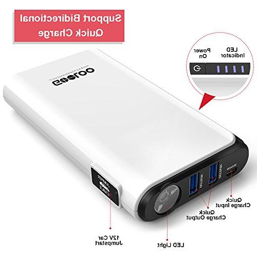 GOOLOO & 500A Peak SuperSafe Battery Portable Charger, Built-in LED Light, Black/White