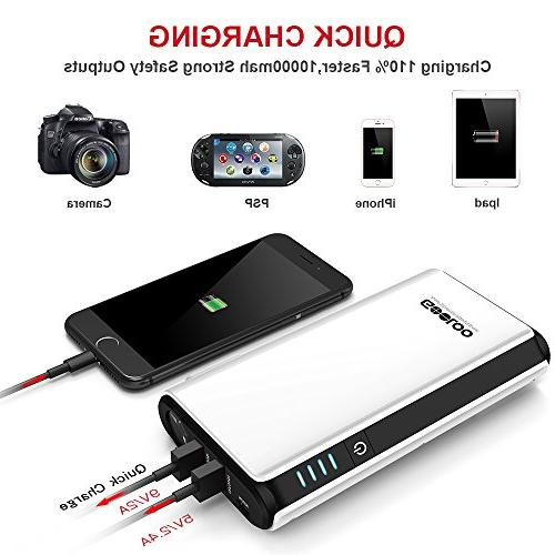 GOOLOO SuperSafe Power 12V Battery Booster Portable Charger, Built-in Light, Black/White