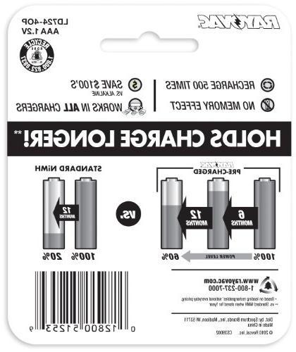 RAYOVAC AAA Batteries, LD724-4OP