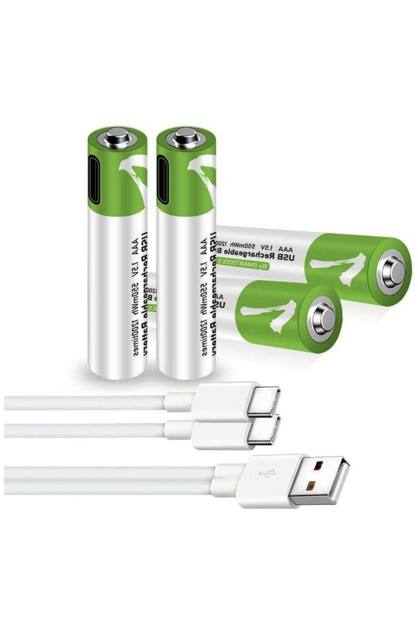 Rechargeable USB with Type C Port Cable AA-AAA-9V & D Battery
