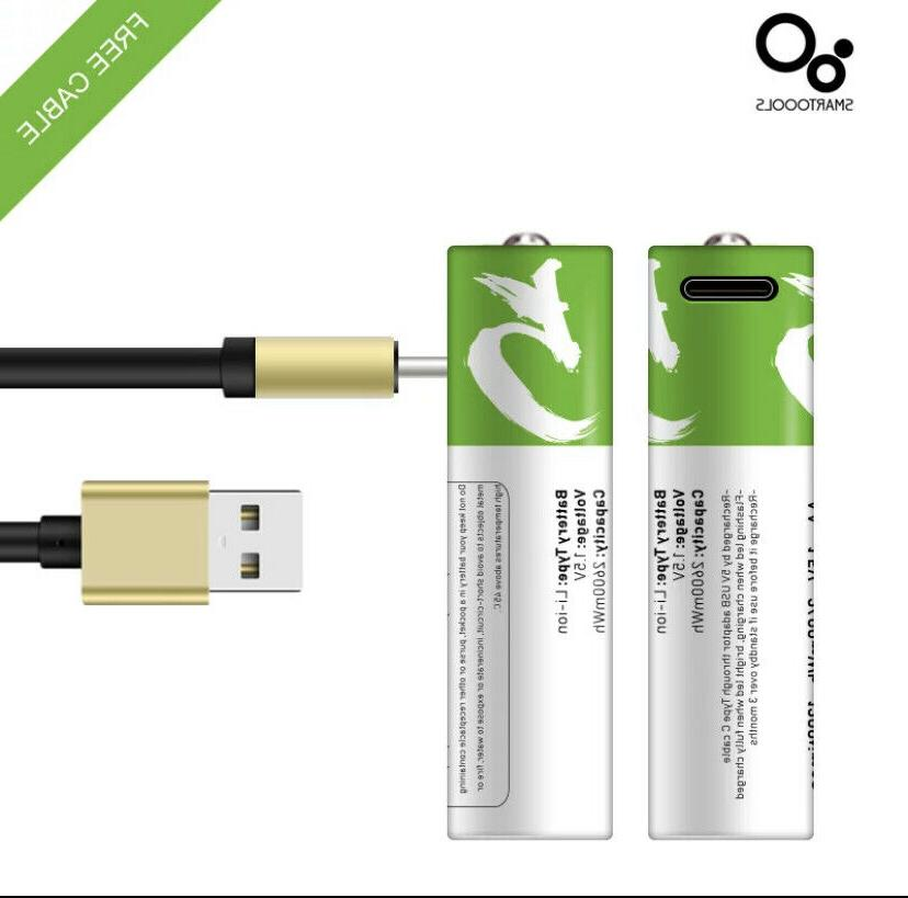AA/AAA Rechargeable USB Li-ion Battery with Type C Port Cabl