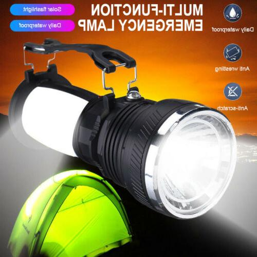 solar power rechargeable battery led flash camping