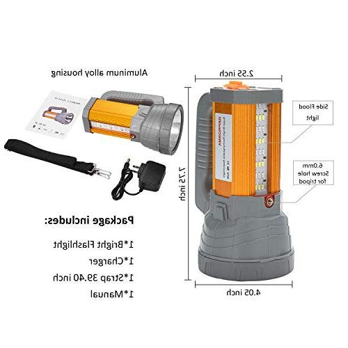 Super Bright Spotlight Flashlight 6000 Lumens Handheld Searchlight Large 10000mah Lasting Waterproof, Side Light Lantern Light