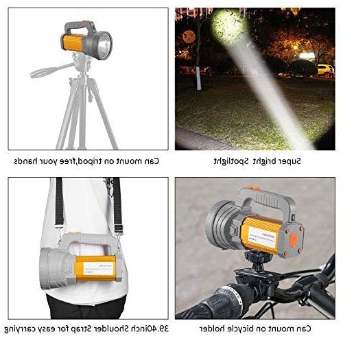 Super LED Spotlight High Powered 6000 Lumens CREE Handheld Searchlight Large 10000mah Side Camping Lantern Work