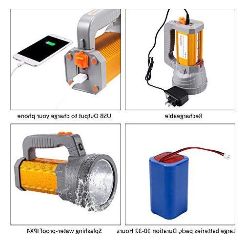 Super Bright LED Spotlight Flashlight High Powered 6000 Lumens Handheld Searchlight Battery 10000mah Side Flood Light Lantern