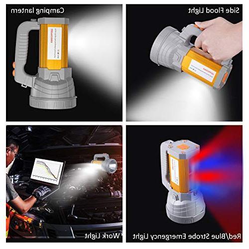 Super Bright Spotlight Flashlight High 6000 CREE Searchlight 10000mah Long Side Lantern Work