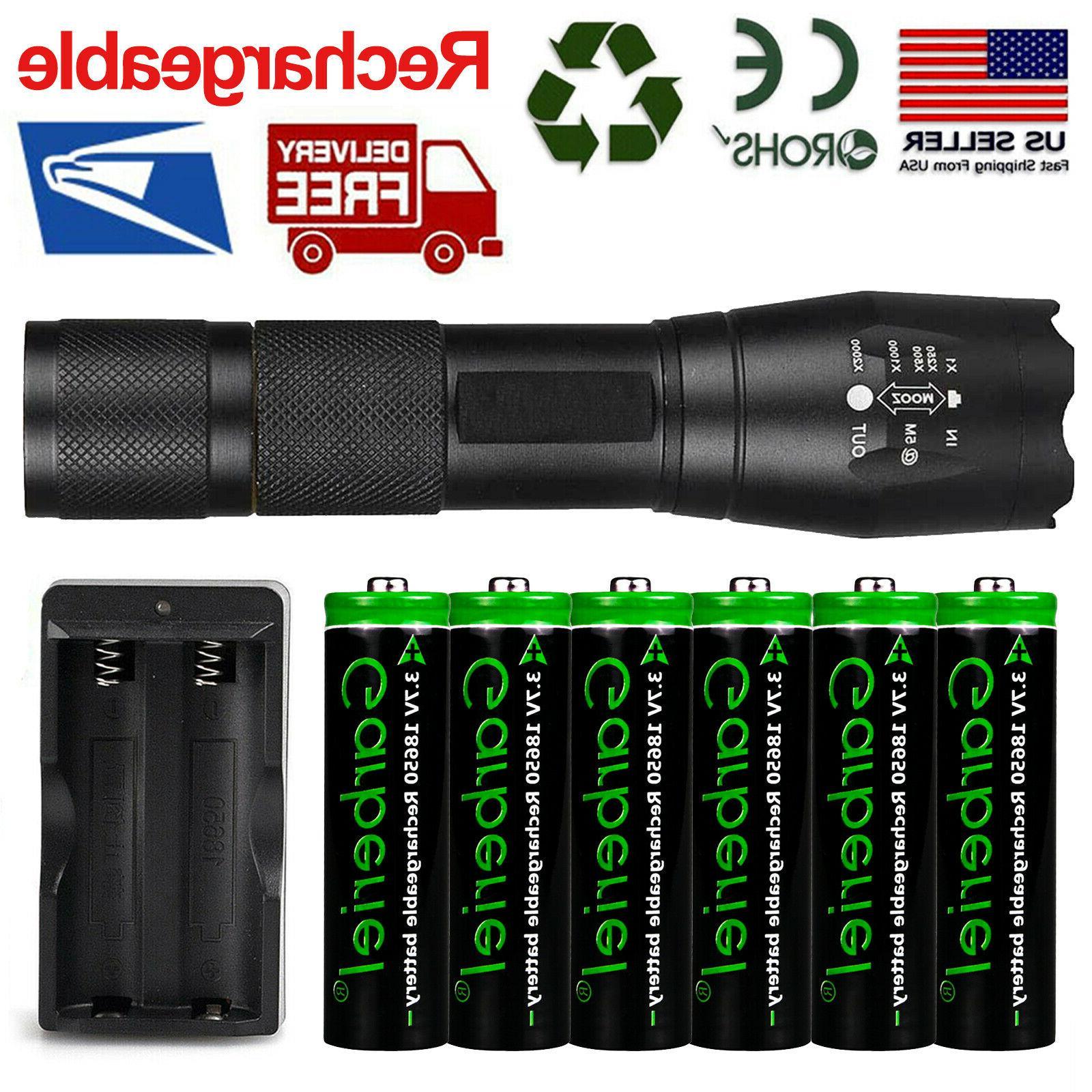 t6 led flashlight 6pc 18650 li ion