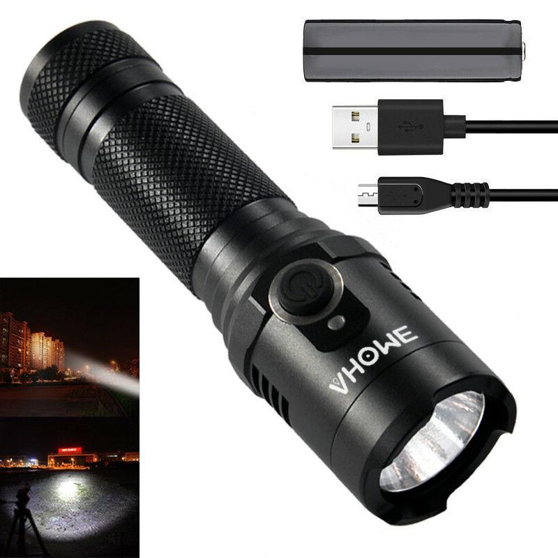 tactical flashlight usb rechargeable battery magnetic base