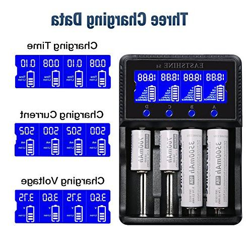 Universal 4 Rechargeable Batteries Ni-MH Ni-Cd AAA C Li-ion IMR 26650 16340 18500 10440 17670 Adapter LCD UL Listed