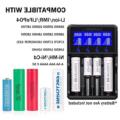 Universal Smart Battery Charger 4 Batteries Ni-MH AAA IMR 16340 10440 18350 17670 with Car Adapter LCD Listed