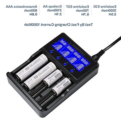 Universal Smart Battery 4 Rechargeable Batteries AAA C IMR 14500 16340 18350 17670 with Adapter Listed