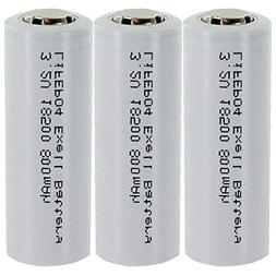 3-PACK 3.2V 800mAh Exell Battery Li-FePO4 Size 18500 Recharg