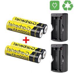HeCloud 4 x 3.7V Li-ion 6000mAh 18650 Battery Rechargeable B