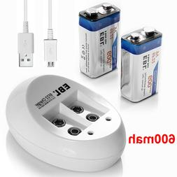 2x 9V 600mAh Li-ion Rechargeable Battery + USB Lithium-ion 9