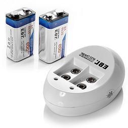 EBL 9V Li-ion Rechargeable Batteries  Smart 9V Battery Charg