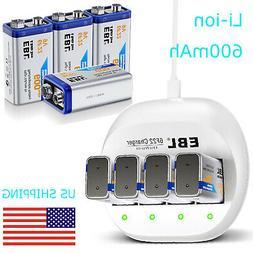 4x EBL 600mAh 9V Li-ion Rechargeable Battery + 9-Volt 4Slots