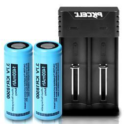 Lithium ICR18500 Rechargeable Battery 1400mAh 3.7V 2pcs + Du