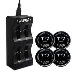 Lithium Ion 2032 Battery Charger Coin Cell 4pcs Rechargeable