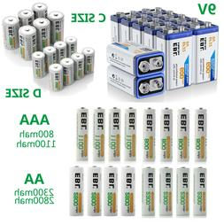 Lot AA AAA C D Size Battery 9V Volt  6F22 Rechargeable Batte