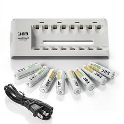 Lot EBL 2800mAh AA Ni-MH 1.2V R6 Rechargeable Batteries / 8
