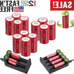 Lot 3.7V CR123A 2800mAh 16340 Rechargeable Batteries + Charg