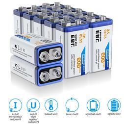 Lot EBL 600mAh 9V 6F22 Rechargeable Li-ion Batteries 9 Volt
