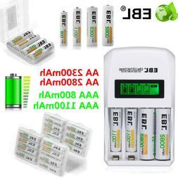 Lot EBL 800/1100/2300/2800mAh AA AAA NI-MH Rechargeable Batt