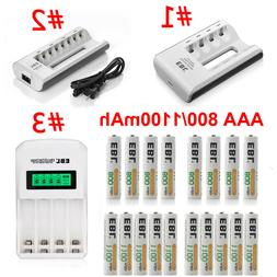 Lot 800/1100mAh AAA Rechargeable Batteries / Charger For AA