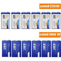 Lot EBL 9V 6F22 Li-ion Battery / Alkaline 9 Volt 6LR61 Batte