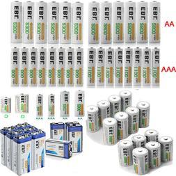 EBL Lot AA AAA C D Size 9V Battery 6F22 Ni-MH/Li-ion Recharg