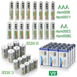 Lot EBL AA AAA C D Size Battery 9V Volt 6F22 Ni-MH/Li-ion Re
