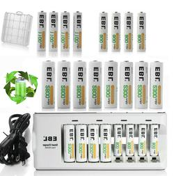 Lot EBL AA AAA NI-MH Rechargeable Batteries +8 Slot Smart Ch