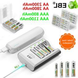 Lot EBL AAA AA Ni-MH Rechargeable Battery + 4 Slot Smart Cha