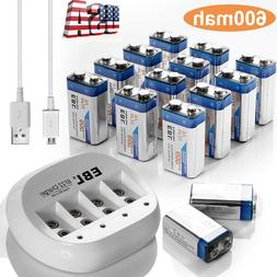 EBL 600mAh 9V Li-ion Rechargeable Batteries w/USB 4Slots 9-V